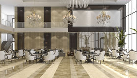3d rendering luxury hotel reception and lounge restaurant Royalty Free Stock Photography