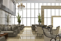 3d rendering luxury hotel reception and lounge restaurant Stock Photo