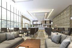 3d rendering luxury hotel reception and lounge restaurant Royalty Free Stock Images