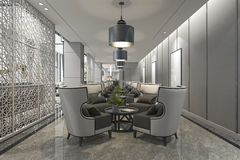 3d rendering luxury hotel reception and lounge restaurant Royalty Free Stock Photos