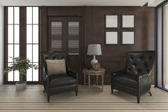 3d rendering luxury living room with classic furniture Royalty Free Stock Photos