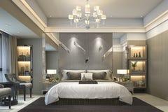 3d rendering luxury modern bedroom suite in hotel Stock Photography