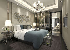 3d rendering luxury modern bedroom suite in hotel with wardrobe and walk in closet Stock Photography