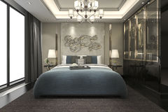 3d rendering luxury modern bedroom suite in hotel with wardrobe and walk in closet Royalty Free Stock Photos