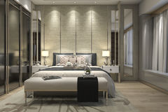3d rendering luxury modern bedroom suite in hotel with wardrobe and walk in closet Stock Photos