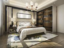 3d rendering luxury modern bedroom suite tv with wardrobe and walk in closet. 3d rendering interior and exterior design vector illustration