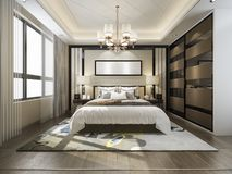 3d rendering luxury modern bedroom suite tv with wardrobe and walk in closet. 3d rendering interior and exterior design stock illustration