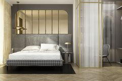 3d rendering luxury modern bedroom suite with wardrobe and gold decor. 3d rendering interior and exterior design royalty free illustration
