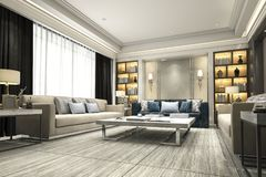 3d rendering luxury and modern living room with bookshelf. 3d rendering interior and exterior design Stock Images