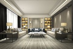 3d rendering luxury and modern living room with bookshelf. 3d rendering interior and exterior design Royalty Free Stock Photo