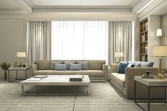 3d rendering luxury and modern living room with bookshelf. 3d rendering interior and exterior design Stock Photos
