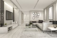 3d rendering luxury and modern living room with marble tile decor Royalty Free Stock Photos