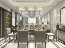 3d rendering luxury and modern restaurant and dining zone Royalty Free Stock Photos