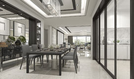 3d rendering luxury and modern restaurant and dining zone Royalty Free Stock Photography