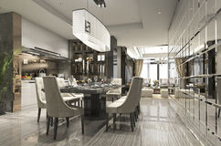 3d rendering luxury and modern restaurant and dining zone Stock Photos