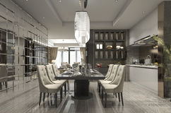 3d rendering luxury and modern restaurant and dining zone Stock Image