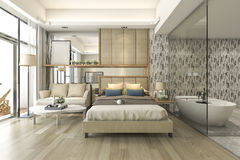 3d rendering luxury suite hotel bedroom with bathtub and counter bar Stock Photo
