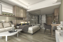 3d rendering luxury suite hotel bedroom with bathtub and counter bar Royalty Free Stock Photography