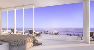 3d rendering luxury villa bedroom near beach with beautiful evening scene from window Stock Image