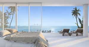 3d rendering luxury villa bedroom near beach and palm tree with beautiful morning scene from window Royalty Free Stock Images