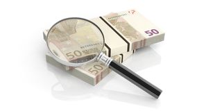 3d rendering magnifier on euro notes stack. 3d rendering magnifier on fifty euros stack Royalty Free Stock Images