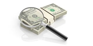3d rendering magnifier glass on dollar notes stack Royalty Free Stock Photo