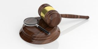 3d rendering magnifier glass on a wooden auction gavel. 3d rendering magnifier glass on an auction gavel Stock Images