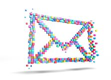 3D rendering mail icons colorful pixel, isolated on white background. File contains a path to isolation royalty free stock photography