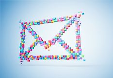 3D rendering mail icons colorful pixel on wall. Patch inside for cubes isolated. stock images