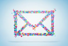3D rendering mail icons colorful pixel on wall. Patch inside for cubes isolated. stock photography