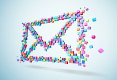 3D rendering mail icons colorful pixel on wall. Path inside for cubes isolated. royalty free stock photography