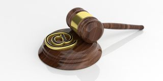 3d rendering mail symbol and an auction gavel. On white background Stock Photos