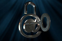 3D rendering from a mail symbol with a key. A 3D rendering from a mail symbol with a key Stock Photography