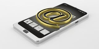 3d rendering mail symbol on a smartphone Stock Images