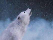 3D rendering majestatyczny białego wilka wyć ilustracji