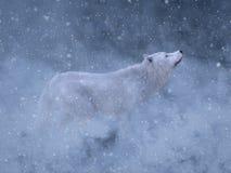3D rendering majestatyczny biały wilk w śniegu ilustracji