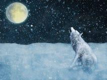 3D rendering majestatyczny biały wilk wy w blask księżyca royalty ilustracja