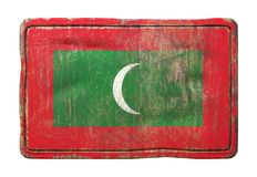 Old Maldives flag. 3d rendering of a Maldives flag over a rusty metallic plate. Isolated on white background Royalty Free Stock Image
