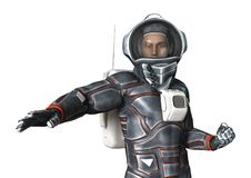 3D Rendering Astronaut on White Stock Image