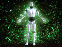 3D rendering of male robot with bokeh light effect. Stock Photos