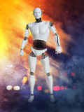 3D rendering of male robot with fire and smoke. Stock Image