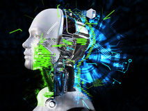 3D rendering of male robot head technology concept. Royalty Free Stock Images