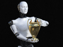 3D rendering of male robot holding trophy award. 3D rendering of male robot holding golden prize trophy award. Black background Stock Image