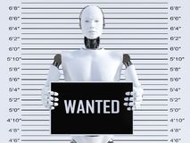 3D rendering of male robot in a mugshot. 3D rendering of a male robot holding a Wanted sign while getting his mug shot. Concept of cyber crime and hackers