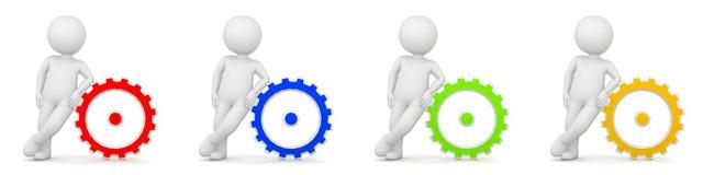 3D Rendering of man as engineer with gears or cogwheel Royalty Free Stock Images