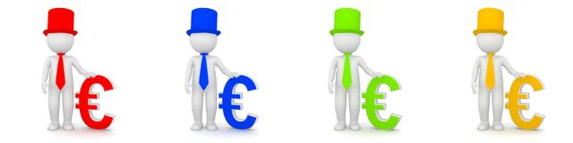 3D Rendering of man with Euro currency as banker. Different colors Stock Image
