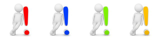 3D Rendering of man with exclamation mark having answer Royalty Free Stock Photos