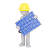 3D Rendering of man holding a solar panel on white. 3D Rendering of man wearing yellow hard hat while holding a solar photovoltaic panel on white background Royalty Free Stock Photos