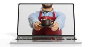 3d rendering man offering coffee through a laptop screen Royalty Free Stock Images