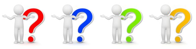 3D Rendering of man with question mark. Different colors Royalty Free Stock Image